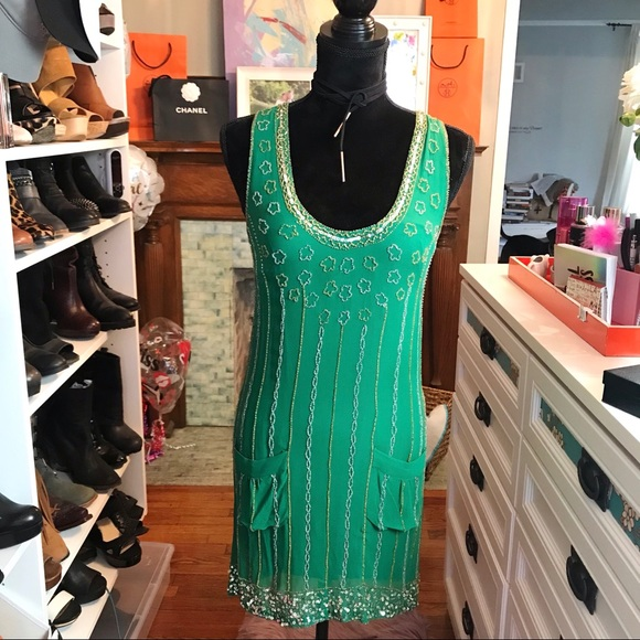 French Connection Dresses & Skirts - French Connection Beaded Shift Dress Emerald Sz 0